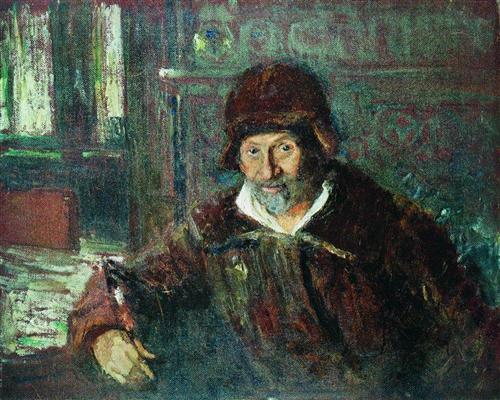 伊利亚·列宾《自画像》(1920)
